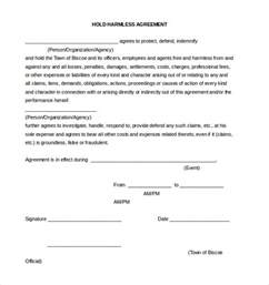 hold harmless agreement template 13 free word pdf