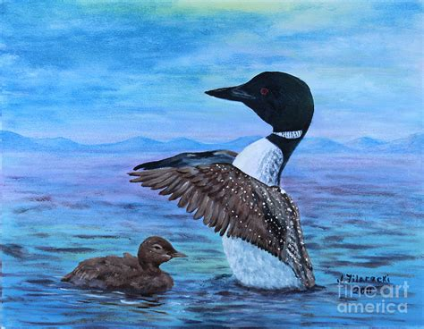 loon mother and baby painting by judy filarecki