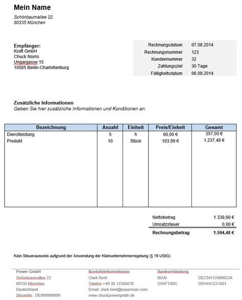 Rechnung Freiberufler Vorlage Word Rechnung Kleinunternehmer Kostenlose Vorlage In Word
