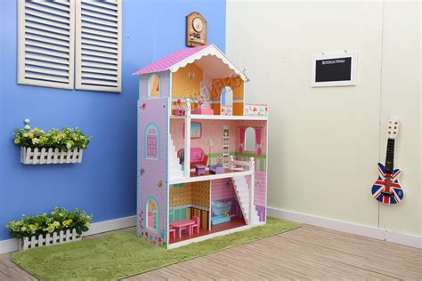 doll house setting games foxhunter deluxe doll house set kids girls children toy playset game diy pink ebay
