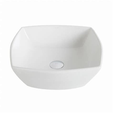 kraus elavo flared square ceramic vessel bathroom sink in