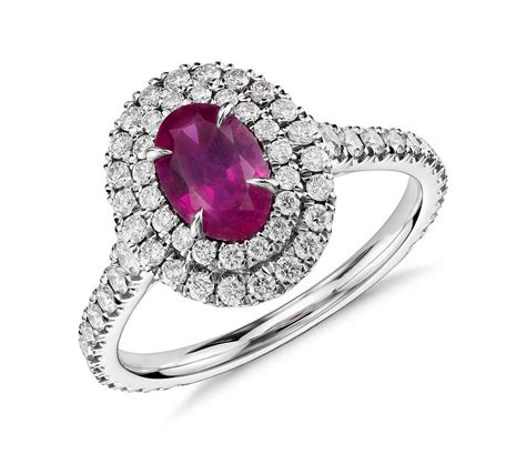 ruby and halo ring in 18k white gold 0 98