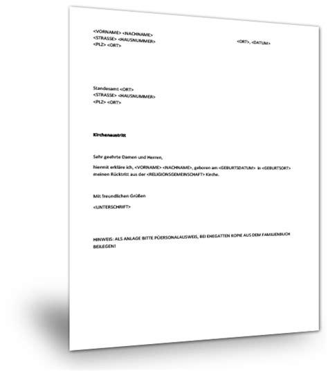 vorlage brief austritt kirche kirchenaustritt musterbrief musterix