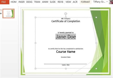microsoft powerpoint certificate templates course completion certificate template for powerpoint