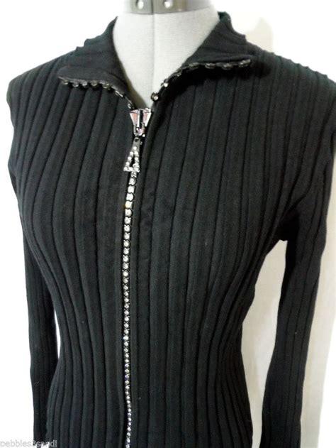 Sweater Zipper black rhinestone zipper sweater sweater jacket