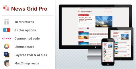 News Grid Pro Email Newsletter Template By Dsthemes Themeforest Email Grid Template