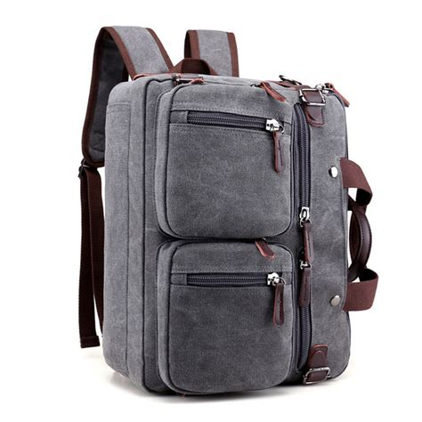 Tas Laptop 14 Inch Abu 13 17 inch multi pocket canvas convertible laptop bag 15 briefcase backpack 15 6 17 inch