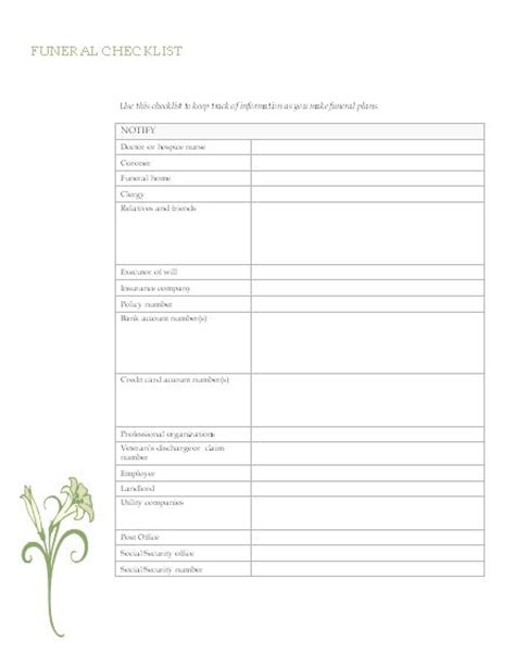 Funeral Planning Checklist Organisation Pinterest Funeral Funeral Planning And Templates Planning My Funeral Template