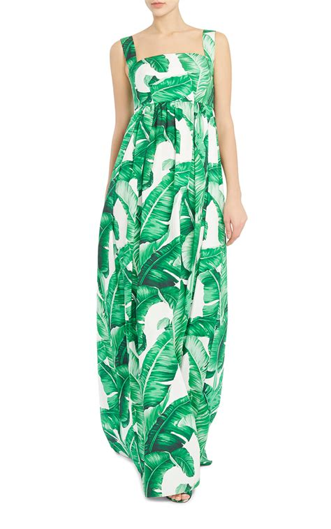 Leaf Maxi dolce gabbana palm leaf maxi dress in blue lyst