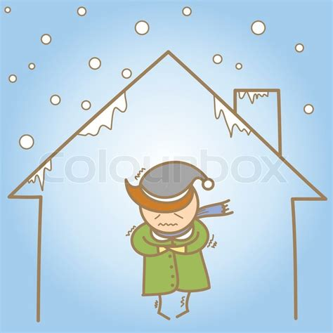 cold house cartoon character of man in the cold house stock vector colourbox