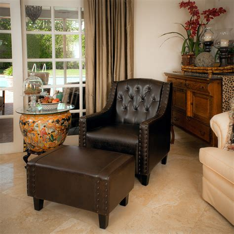 Empierre Brown Leather Club Chair Ottoman Footstool Set Brown Leather Chair And Ottoman Set