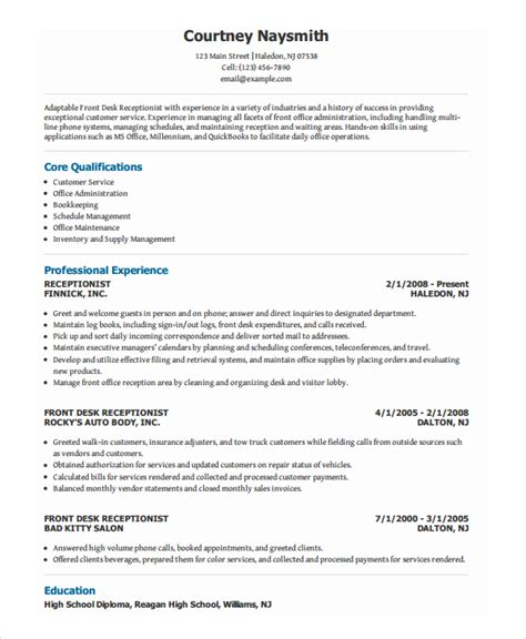resume examples for receptionist examples of resumes