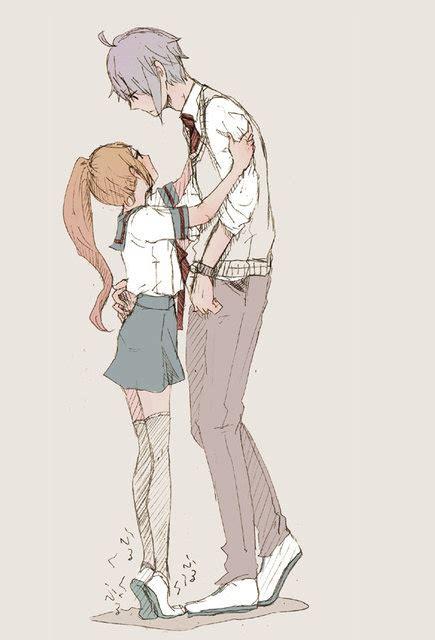 anime couple tall guy short girl neverlandxfairy