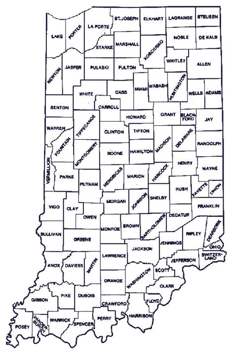 county map of indiana indiana state map with counties indiana map