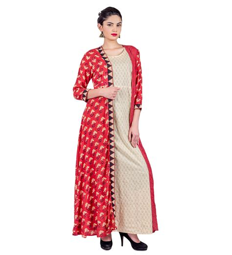 jacket pattern kurta for ladies rust hand block printed long jacket dress with beige inner