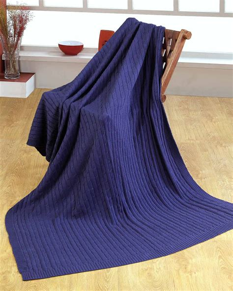 Navy Blue Cotton Blanket by Cotton Cable Knit Navy Blue Throw Homescapes