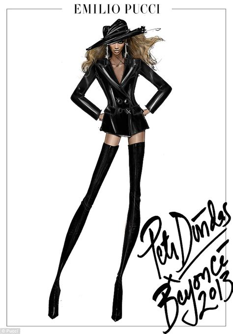 fashion illustration leather pucci releases sketches of beyonc 233 s mrs world tour