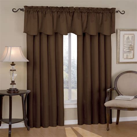 Chocolate Curtains With Valance Eclipse Curtains Canova Blackout Drapes And Valance Set In Chocolate Canova Blackout Drapes