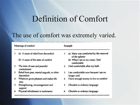 define comfortable comfort theory kathy kolcaba presentation by erin