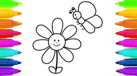Butterfly Coloring Pages For Toddlers by How To Draw Flower And Butterfly Learning Coloring Pages