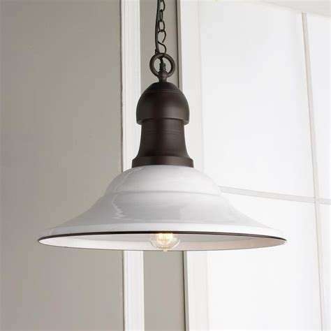 farmhouse pendant lighting kitchen 21 quot white enamel pendant light industrial chic