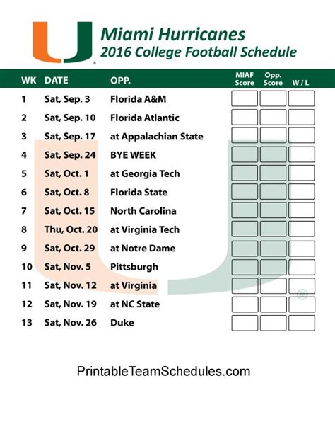printable hurricanes schedule 1000 images about acc college football 2016 schedules on