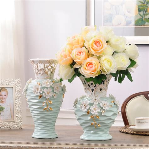 home decor floor vases ceramic hollow white flowers vase home decor large floor