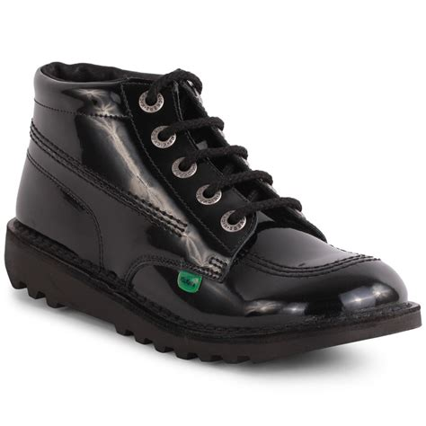 Kickers Safety Boots 01 kickers kick hi youth ankle boots in black patent