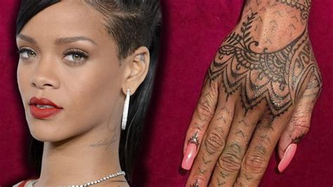 rihanna debuts new henna hand tattoo youtube