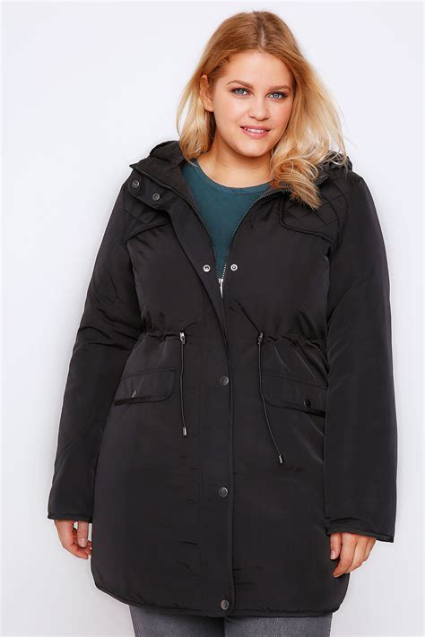 black padded parka coat with quilted shoulders plus