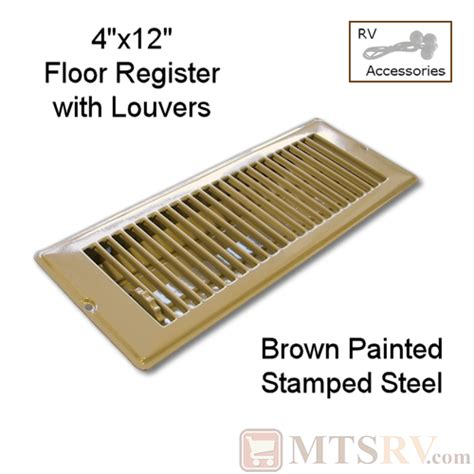 4 X 12 Floor Register by Metal Brown 4 Quot X 12 Quot Floor Register With Louvers Painted Sted Steel For Rvs Trailers