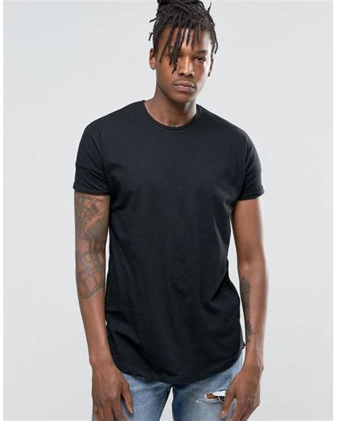 Longline Shirt Fregie Unisex pull longline t shirt in black with curved hem in black for lyst
