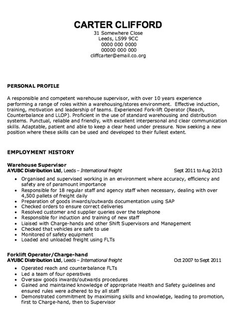 Warehouse Supervisor Resume by Sle Of Warehouse Supervisor Resume Free Resume Sle