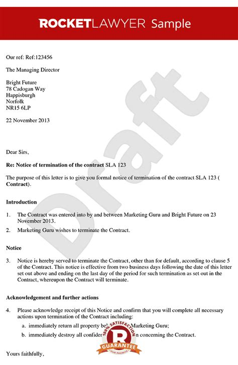termination letter exle uk contract termination letter