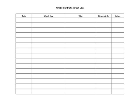 credit card key template key sign out sheet template scope of work template