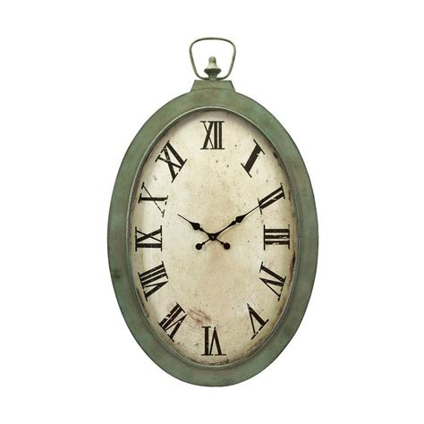 oversized wall clock home decorators collection noran white and green oversized oval wall clock 1265700410 the home