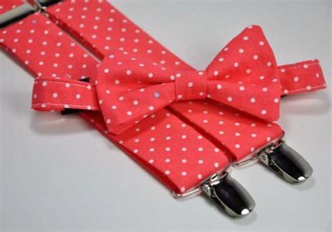 boy s bow tie and suspender set coral polka dots