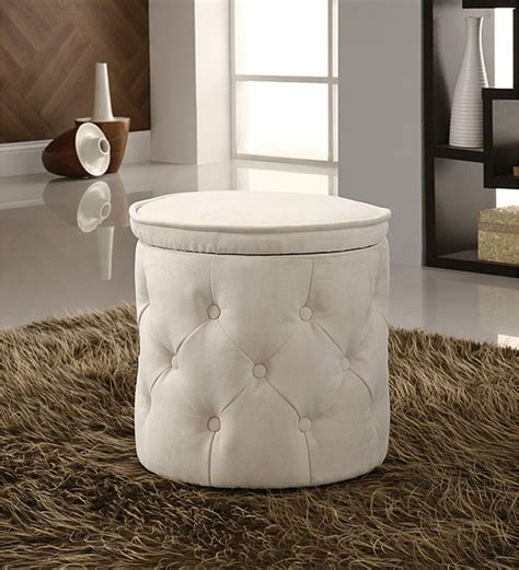 round fabric storage ottoman tufted fabric beige round storage ottoman contemporary footstools and ottomans by