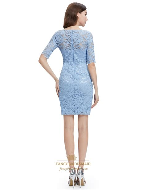 light blue lace dress with sleeves light blue lace sheath cocktail dress with half sleeves