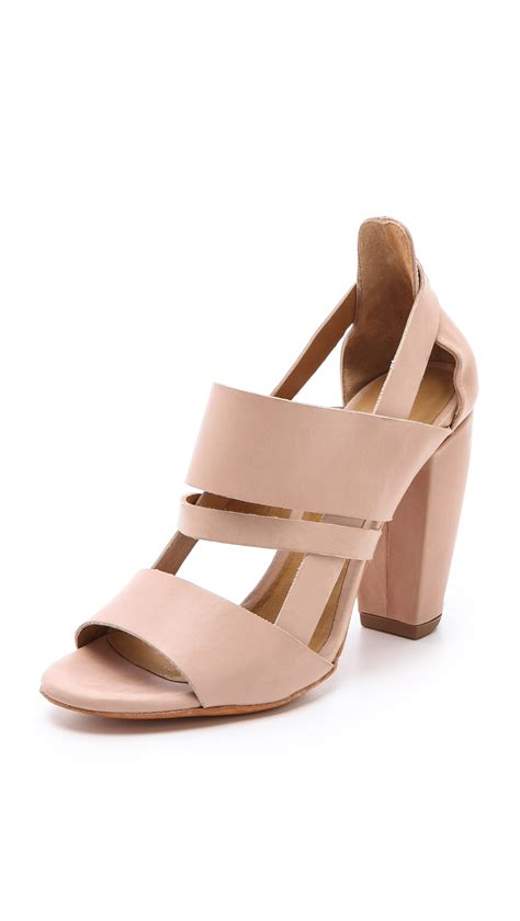 beige heeled sandals coclico oedo chunky heel sandals in beige lyst