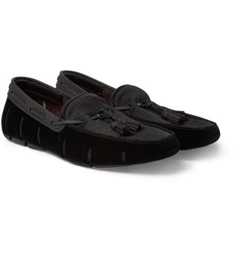 swims loafer swims velvettrimmed rubber tassel loafers in black for