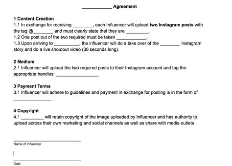 Marketing Agreement Template Business Marketing Marketing Agreement Template Design Templates Instagram Influencer Agreement Template