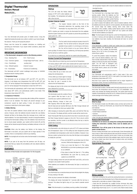 comfort stat thermostat comfort stat cp1717 user manual 2 pages
