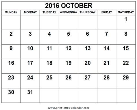 printable calendar october 2016 2016 october calendar