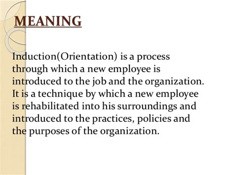 induction and orientation in hrm induction