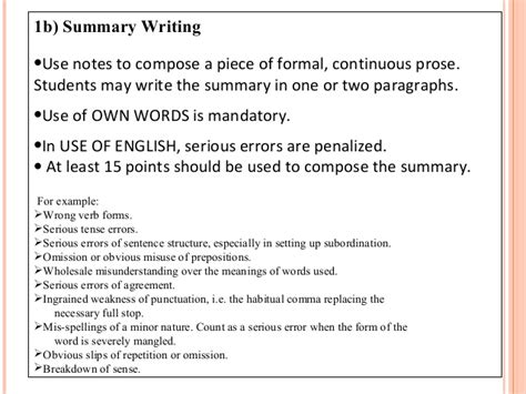 Summary Words For Essay by 1123 Paper 2 Guidelines