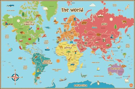 World Map 3 A0 world map for children educational poster a1 a2 a3 a4