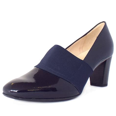 navy patent shoes kaiser dorna mid heel navy patent wide fit court
