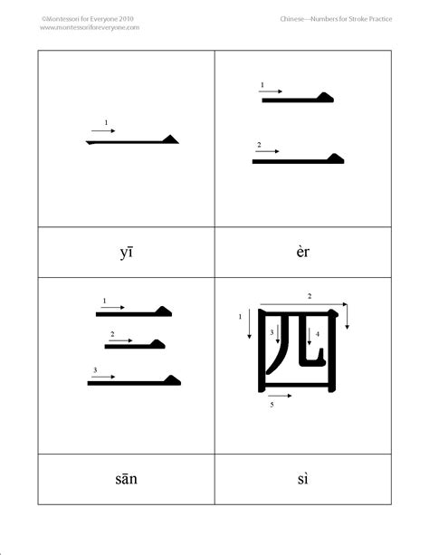 printable chinese numbers 1 10 montessori for learning mandarin chinese