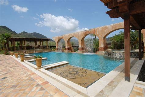 mediterranean pools mediterranean swimming pool with gazebo exterior stone